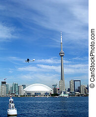 Toronto Lake Airplane over the Downtown 2004 - Airplane, CN...