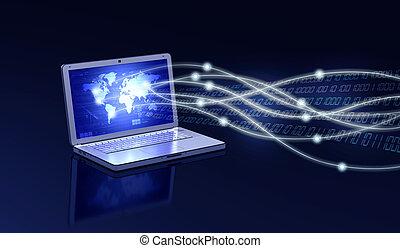 Laptop Connection Concept - Conceptual image about how a a...