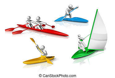 sports symbols icons series 3 on 9, canoe, kayak, rowing,...