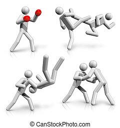 sports symbols icons series 4 on 9, boxing, taekwondo,...