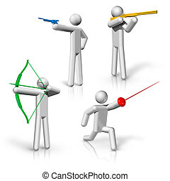 sports symbols icons series 1 on 9, Shooting, archery,...