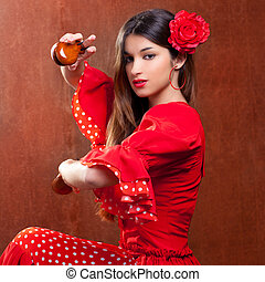 Castanets gipsy flamenco dancer Spain girl - Castanets gypsy...