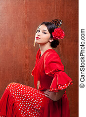 Flamenco dancer Spain woman gipsy with red rose and spanish...