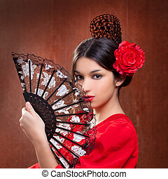 Flamenco dancer woman gypsy red rose  spanish fan