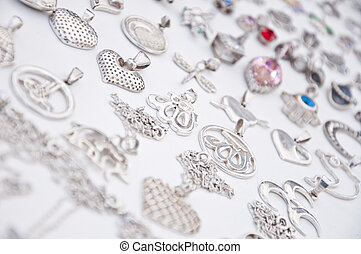Silver accessories - Various hand-made silver or metal...