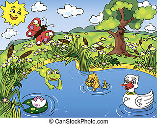 Pond life - Cartoon kids illustration of the pond life with...