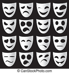 Theatre masks - Isolated classical white theatre masks on a...