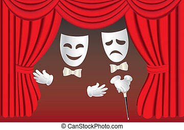 Theatre masks and curtains - Classical white theater masks...