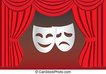Theatre masks and curtain - Classical white theater masks...