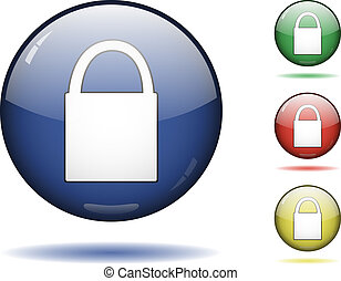 Lock icon set - Glossy sphere icon set of lock. Vector saved...