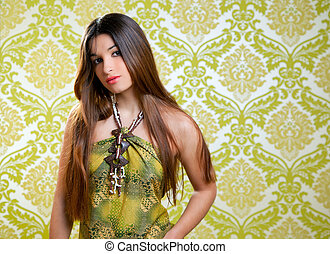 Asian Indian brunette beautiful girl with long hair