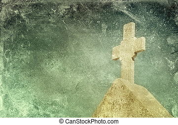 Vintage stone cross on grunge background, religious motif