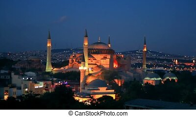 Hagia Sophia in night - Istanbul, Hagia Sophia Museum in...