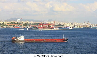 Large tanker ship in front of Istanbul container harbor