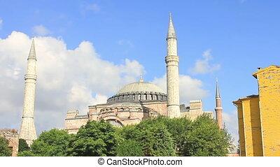 Hagia Sophia. Time Lapse - Hagia Sophia, famous historical...