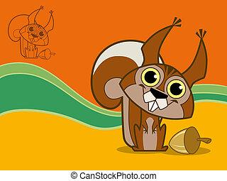 happy squirrel, vector illustration