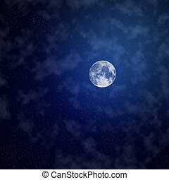 The moon on night sky