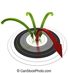 three green arrow reaching the center of a target and one bouncing out of the center, symbol of bounce rate