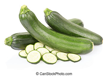 Zucchini or courgette sliced isolated on white, clipping...