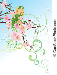 little green blond fairy sitting on the blossom cherry tree branch vector decorative illustration