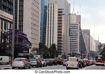 The traffic of cars in the Paulista Avenue, Sao Paulo
