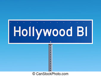 Hollywood Bl sign - Blue road sign Hollywood Boulevard with...
