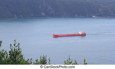 Red tanker ship - Large red tanker ship on route to Bosporus...