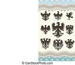 heraldry set and retro background