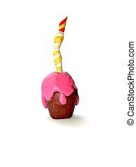 代用粘土, 蛋糕, 生日, 鮮艷, 孩子的