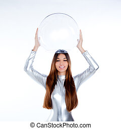 futuristic silver woman holding glass helmet - brunette...