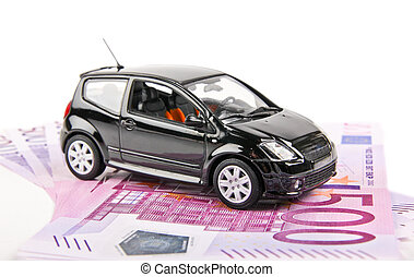 Car placed on money