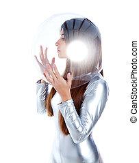 perfil, casco, mujer, vidrio, morena, plata, futurista
