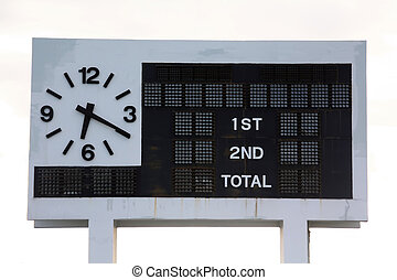 score board on a football stadium