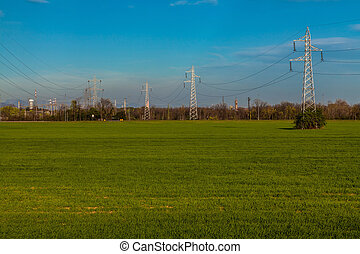 pylons - Pylons and factories in the country