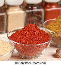 Paprika powder - Various exotic spices in bowls Selective...