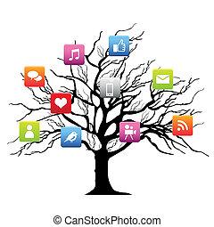 Social media tree on white