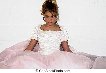 Young Girl Relaxing in gown