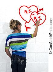 Girl Drawing Graffiti