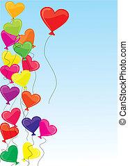 vetorial, Ilustração, heart-shaped, bexigas