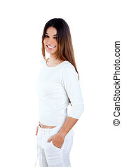 brunette Indian woman on white smiling happy