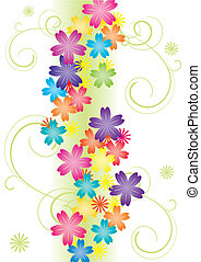 vector illustration of flowers with curves bright color