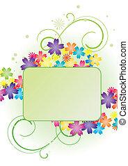 vector flower green banner on white backdrop