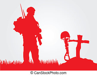 Paying respect. - A soldier paying respect to a dead...