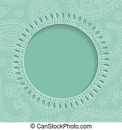 Blue  frame with  paisley pattern. Vector 