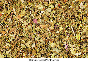Pile of ground dried Basil (Sweet Basil) as background. Used as a spice in culinary herb all over the world. The plant is also used in medicine.