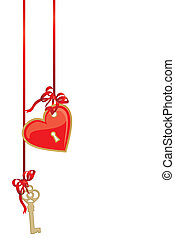 heart and key vector picture