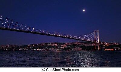 Moon glow in Bosporus, Istanbul