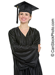 Portrait of happy graduation student woman isolated