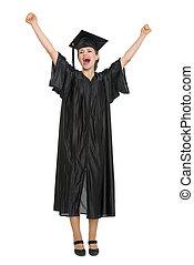 Happy female student celebrating graduation isolated