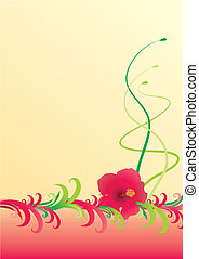 hibiscus yellow  border illustration